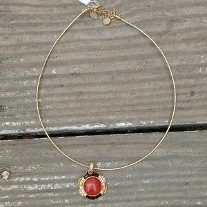 Lia Sophia Gold Red Pendant Neck wire Necklace
